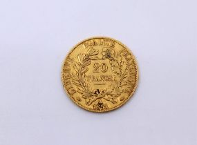A French 1851, 20 Francs gold coin