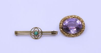 An amethyst gold brooch and similar secessionist turquoise brooch