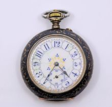 An interesting Russian Silver Niello pocket watch with gold overlaid cartouche