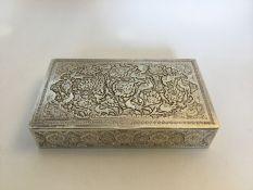 A Persian (Iranian) Isfahan 840 silver rectantangular box, the repoussé top with long tailed birds
