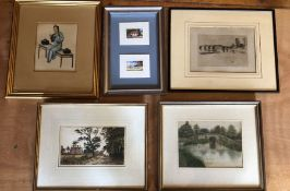 A collection of framed works, comprising:- a Watercolour by Philip Brown (British 1801-1868) 33cm