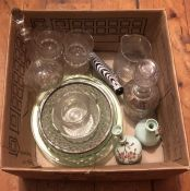 A 19th century Nailsea style flask with swagged decoration, a pair of Victorian small green glass