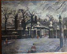 B. Russell (English School) The Royal Hospital Chelsea, oil on canvas unframed 41cm x 51cm