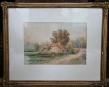 J. HORROCKS (British) watercolour, 'Ragged Staff Bridge in Coventry' a view of a country cottage,