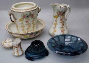An Edwardian hand coloured floral transfer decorated five piece toilet suite, together with a 1930's