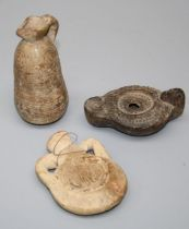 A Cypriot pottery juglet 750-600BC, a Roman pottery lamp, c 3rd century AD, a Byzantio pottery '