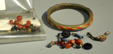A Roman style mosaic glass Bracelet, the light green glass hoop applied to the outside with
