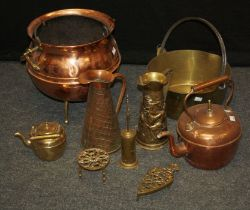A copper and brass cauldron form coal bin, a brass preserve pan, Victorian copper kettle and other