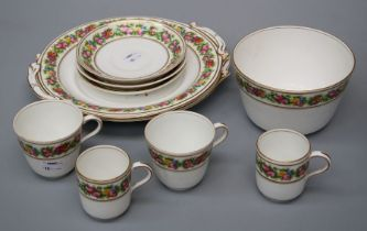 A mid 19th century English porcelain part tea and coffee service, comprising eleven teacups, five