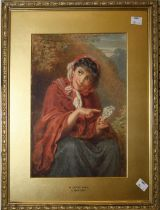 Attributed to Charles Baxter (1809-1879) ' A Gypsy Girl ', watercolour, 31 x 23cm