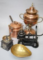 A Victorian copper samovar, copper kettle, shovel, warming coffee grinder and a set of pans scales