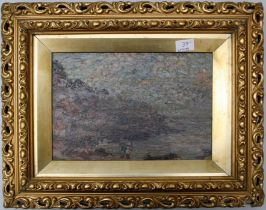 E van Waeyenberge 9 Late 19th early 20th century) Lodge bay with figures near the water. oil on