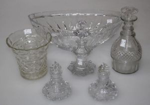 An early 20th century slice cut glass fruit bowl of navette form, 41cm, three hobnail cut scent