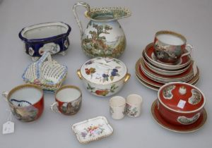 A small quantity of 19th century Pratt ware comprising six variously sized plates, covered bowl on