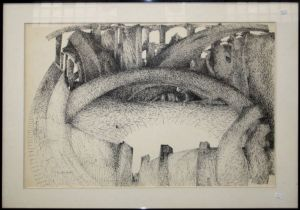 Anne Stichelmans (20th century) A semi-surrealist fortified landscape. Pen and ink, signed lower