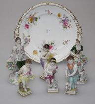 A set of four early 20th century German porcelain figures, representative of the seasons, 13cm,