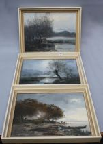 Gerhard Geidel (German 1925-2011) An early winter moonlit river landscape, oil on board, signed