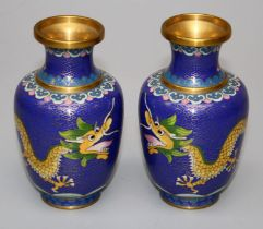 A pair of mid 20th century Cloisonné vases of shouldered baluster form, each decorated with yellow