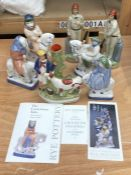 A collection of Rye Pottery figures, comprising four figures from the Canterbury tales; The Nun-
