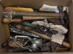 Collection of vintage tools, wooden handles i.e. Hammers, Drills, Chissels etc.