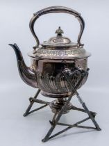 Walker & Hall plated teapot with stand in the form of branches and burner