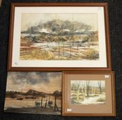 Collection of three watercolours: two by C Rex James - 'Reflections, Burrator' 16 x 22cm and 34 x