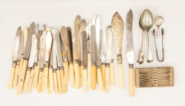 A collection of Victorian large steel and ivory handled table knives, the handles stamped with