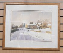 Watercolour by P Percy, Derbyshire artist, of a country snow scene, 38 x 52 cms approx