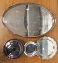 A collection of silver plate comprising: a large Georgian style serving wavy gallery rail, a