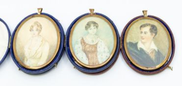 Three 19th Century oval portrait miniatures depicting: Empress Marie Louise, Lord Bryon and a