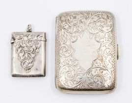 An Edward VII silver cigarette case, engraved, by H.H, Birmingham 1909 together with an Edward VII