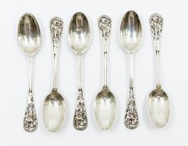 A set of six Victorian silver teaspoons, the terminal cast with Cherubs and openwork design,