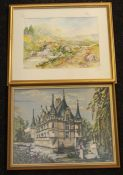 20th Century signed watercolour of a country scene along with a 20th Century tapestry of a Chateau