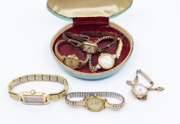 A collection of jewellery and watches to include two vintage ladies 9ct gold dress watches, one with