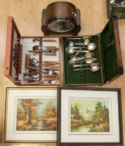 1950's Enfield clock, two small canteens of cutlery, two late 20th Century oils on canvas