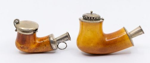 Two large late 19th / early 20th Century silver and white metal mounted Meerschaum pipe ends,
