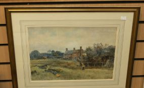 19th Century English School watercolour entitled The Farmstead, by Leopold Rivers RBA, 29 x 44 cms