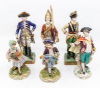 Six Capodimonte figures of soldiers and gens and girl and boy