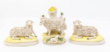 Three 19th Century Staffordshire figures of sheep