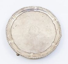 A George III silver card tray / small salver, gadroon border raised edge, the centre engraved with