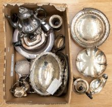 A large collection of silver plated and pewter items