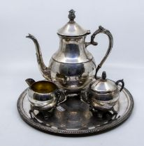 Plated tea service, with tray, along with boxed chrome set of knives, forks and servers