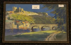 A 20th century watercolour, castle, bridge and river scene, indistinctly signed, dated 1924,