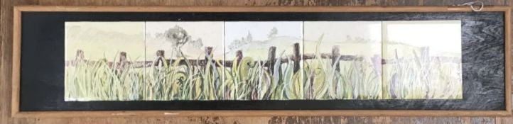 Original framed & signed Hand panted tiles by the Cornish artist D.A. Clark.