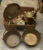 Collection of brass wares including fire dogs, large Stein, Indian platters etc
