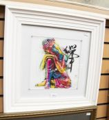 Buddha Feng Shuai by Patrice Murciano, along witha watercolour of a badger and an early 20th