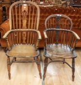 19th Century oak kitchen chair with u stretcher and turned legs, along with tall spindle back oak