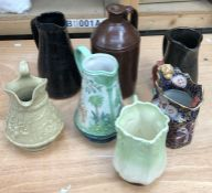 A collection of ceramic jugs, to include a Ridgway & Co. 1835 example; a stoneware example; sylvac