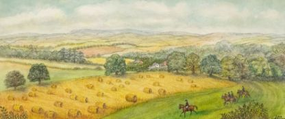 Lois Webster FRSA (British), Meynell Country, watercolour and ink, signed, approx 19.5cm x 45.5cm