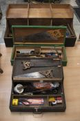 Three wooden tool boxes, with early to mid 20th Century wooden handle tools, including drills,